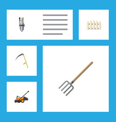 Flat icon dacha set of cutter hay fork wooden vector