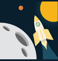 Flight of the rocket in space vector