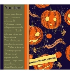 Halloween card and seamless texture with pumpkins vector image