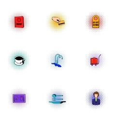 Hotel icons set pop-art style vector