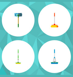 Icon flat broomstick set of broomstick mop sweep vector