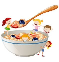 Kids and oatmeal with berries vector