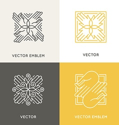 Logo design template in trendy linear style vector
