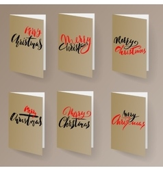 Merry Christmas card template set with lettering vector image