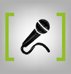 microphone sign black vector image vector image
