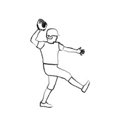 Monochrome sketch of baseball pitcher vector