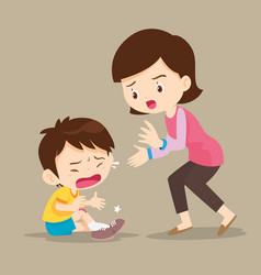Mother looking at boy with wounds on his leg vector