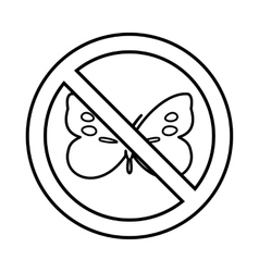 No butterfly sign icon outline style vector