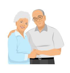 Older couple hugs vector