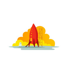 Red rocket color the startup vector