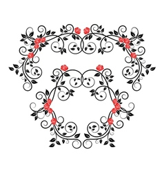 Roses on floral frame and border vector image vector image