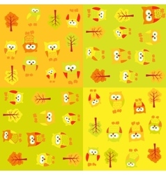 Seamless pattern with owls and trees in squares vector image vector image