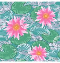 Seamless pattern with pink water lilies vector