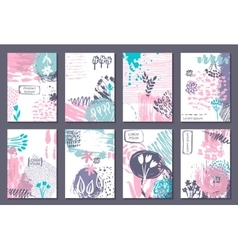 Set of eight cards with hand drawn abstract ink vector image vector image
