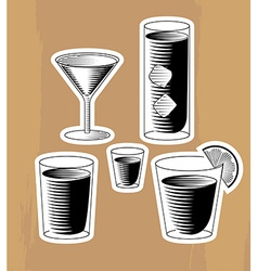 Set of woodcut cocktails vector