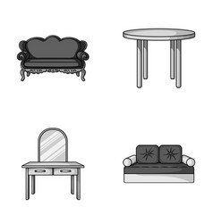 sofa armchair table mirror furniture and home vector image