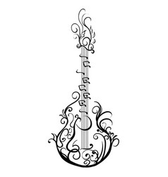 Stylized classical guitar retro guitar tattoo vector