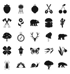 Trekking in the wild icons set simple style vector
