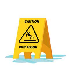 Wet floor classic yellow caution warning vector