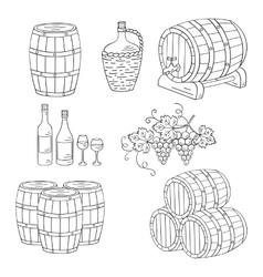 Wine barrels set vector image vector image