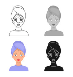 Woman with acne icon in cartoon style isolated on vector