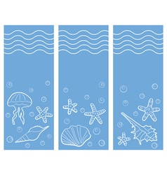 Three marine banners vector