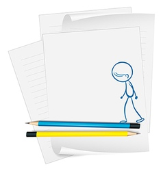 A paper with a sketch of a man walking vector image