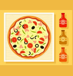 Pizza in a box and sauce bottles set vector