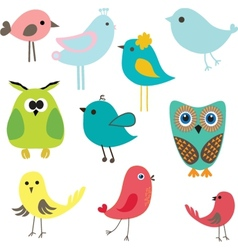 Cute birds set vintage vector