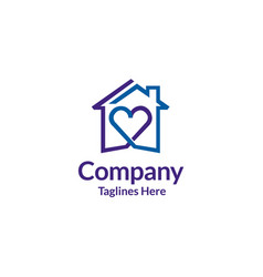 House and heart logo  home care logo vector