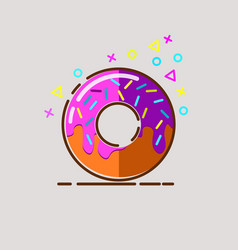 Donut delicious with sprinkles on background vector