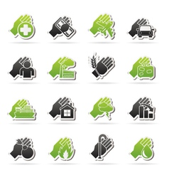 Insurance and risk icons vector