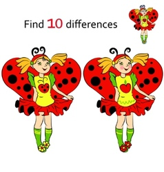 Find 10 differences girl in costume ladybug vector
