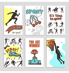 Sport sketch cards vector