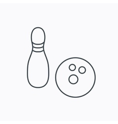 Bowling icon skittle or pin with ball sign vector
