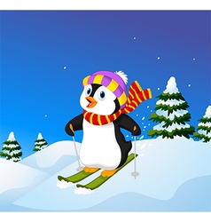 Cartoon penguin skiing down a mountain slope vector