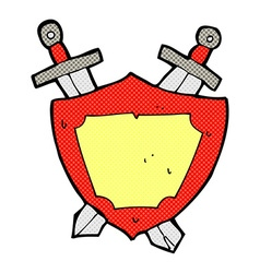 Comic cartoon shield and swords vector