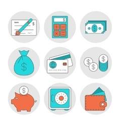 Finance outline icons vector
