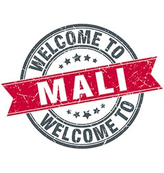 Welcome to mali red round vintage stamp vector