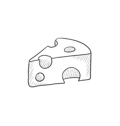 Piece of cheese sketch icon vector