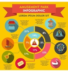Amusement park infographic elements flat style vector image