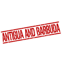 Antigua and barbuda red square stamp vector
