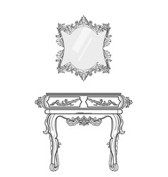 Baroque furniture rich collection ornamented vector