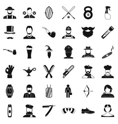 beard icons set simple style vector image