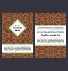 Brouchure with vintage brown swirl pattern vector