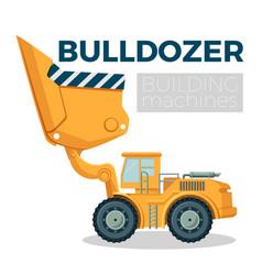 bulldozer building machine realistic logo design vector image vector image
