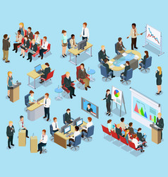 Business Coaching Isometric Collection vector image