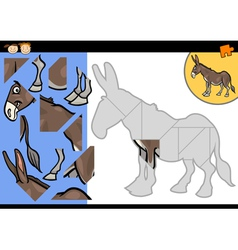 Cartoon farm donkey puzzle game vector