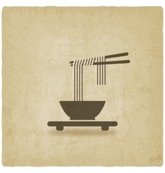 Chinese noodles old background vector image