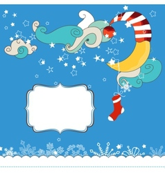 Christmas eve scene card for children vector image vector image